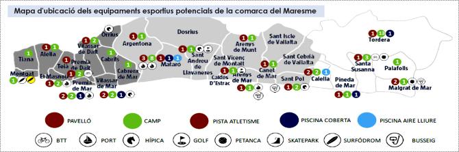 Mapa d'ubicació dels equipaments esportius potencials de la comarca del Maresme