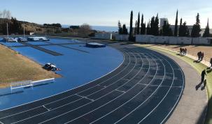 Vista de part del perímetre de la nova pista d'atletisme